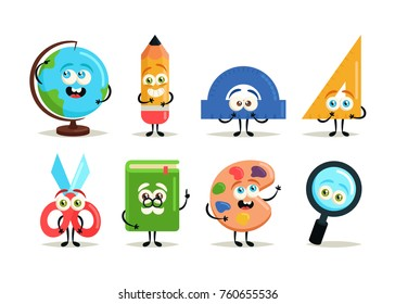 Funny Cartoon Characters. Stationery - Vector Set