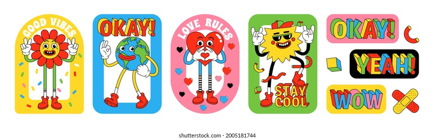 Funny cartoon characters. Sticker pack, posters, prints. Vector illustration of flower, Earth, heart, sun and words. Set of comic elements in trendy retro cartoon style.