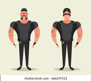 Funny Cartoon Characters - Strong Bikers. Vector Illustrator