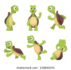 Funny cartoon characters of turtles in various poses. Turtle happy animal, tortoise cute and cheerful. Vector illustration
