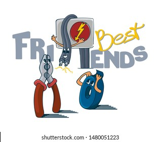 Funny cartoon characters, unexpected meeting of friends, high voltage cable coming out of electric flap, meeting pliers and insulation tape, vector illustration. Best friends slogan