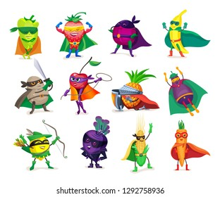 Funny cartoon characters vegetables and fruits in superhero costumes. Concept of healthy diet, natural organic food products super hero, in raincoats, costumes and masks. Vector illustration.