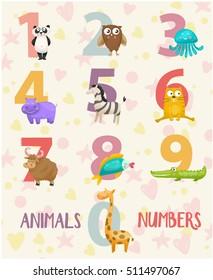 Funny cartoon childish illustrations in vector. Panda,yak, crocodile, giraffe, owl, hippo, fish, zebra