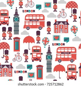 funny cartoon childish vector seamless british pattern. London symbols and landmarks