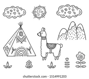 Funny Cartoon children's coloring. Lama about Indian homes Tipi in the mountains among flowers under smiling sun and cloud. Scandinavian style children's drawing. Folk art.