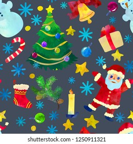 Funny cartoon Christmas seamless pattern. Vector illustration wi