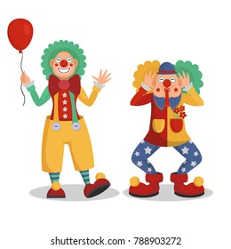 Funny cartoon circus clowns vector illustration.