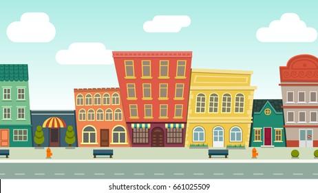 Funny cartoon cityscape street panorama with houses shop road bench hydrant, horizontally vector illustration clip art
