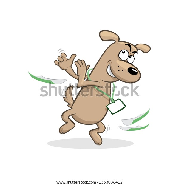 Funny Cartoon Clapping Dog Badge Paper Stock Vector (Royalty