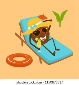 funny cartoon cocnut  relaxing on sunchair on the beach