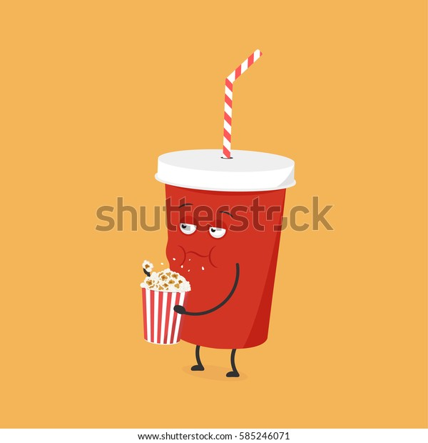 Funny cartoon cola cup eating popcorn. Vector illustration