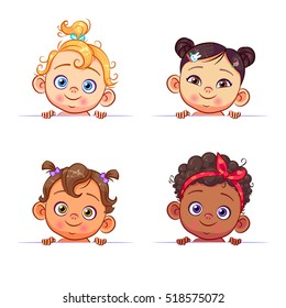 Funny cartoon collection of baby girls portraits, various human races. Vector children characters of different nationalities with billboard.