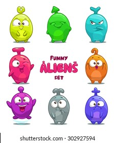 Funny cartoon colorful aliens, vector isolated characters