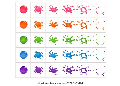 Funny cartoon colorful bubbles burst. Bubble Effect Animation.Can use for game design or animation.