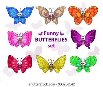 Funny cartoon colorful butterflies set, vector isolated characters