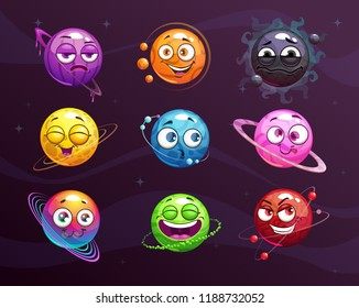 Funny cartoon colorful emoji planets set. Vector comic fantasy space characters  icons.