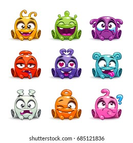 Funny cartoon colorful glossy aliens set. Vector funny characters with different emotions on faces. Little monsters collection.