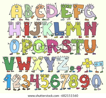 6181ff35976 Funny Cartoon Colorful Letters Hands Feet Stock Vector (Royalty Free ...