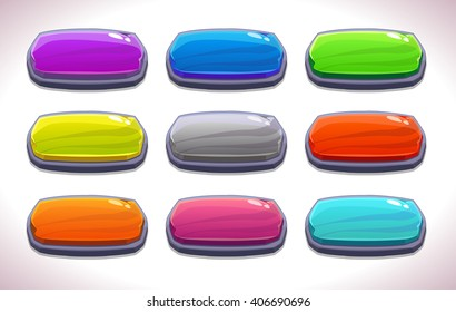 Funny cartoon colorful long horizontal buttons set, vector stone buttons for game or web design, gui elements