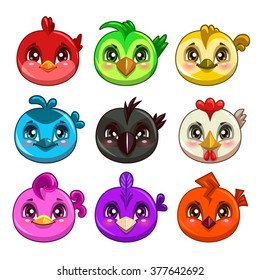 Funny cartoon colorful round birds, vector game assets, isolated on white