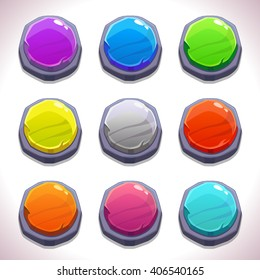 Funny cartoon colorful round buttons set, vector stone buttons for game or web design, gui elements