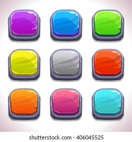 Funny cartoon colorful square buttons set, vector stone buttons for game or web design, gui elements