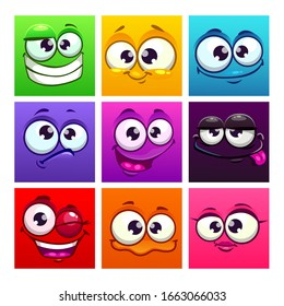 Funny cartoon colorful square emoji faces. Comic avatars collection. Vector icons set.
