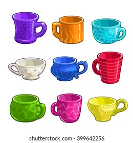 Funny cartoon colorful tea and coffee cups set, isolated  vector icons on white