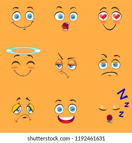 Funny cartoon comic faces on yellow background. Vector illustration.
