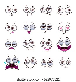 Funny cartoon comic faces on white background. Caricature emoticons set. Vector illustration.