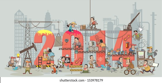 Funny cartoon construction workers collaborating in the installation 2014 building. Cartoon and vector illustration template design