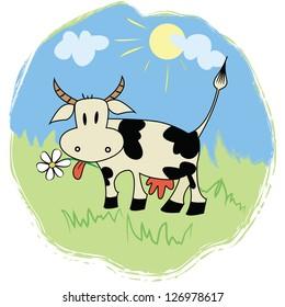 Funny cartoon cow on green grass