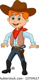 Funny cartoon cowboy