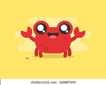 Funny cartoon crab character on sand