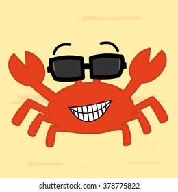 funny cartoon crab with sunglass on the beach cute vector illustration