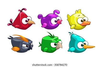 Funny cartoon crazy birds set, vector game elements, isolated on white