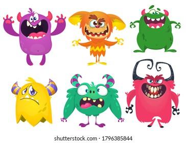 Hübsche Cartoon-Kreaturen. Set von Cartoon-Vektormonstern. Halloween-Design
