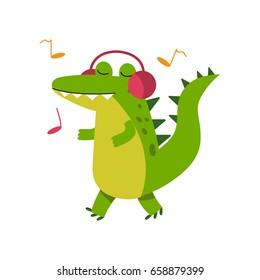 Funny cartoon crocodile character in headphones listening music and walking vector Illustration
