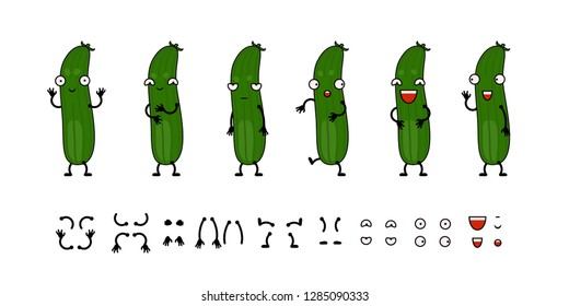Funny cartoon cucumber character creation set vector illustration. Constructor with various gesture, emotion.