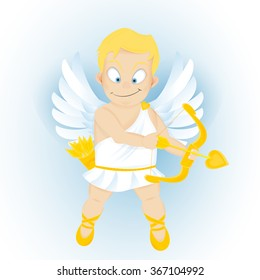 funny cartoon Cupidon with golden bow and arrow