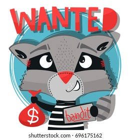 Funny cartoon, Cute bandit raccoon carrying bag of money isolated on white background illustration vector.