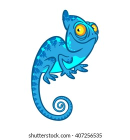 funny cartoon cute chameleon