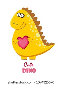 Funny cartoon, cute dinosaur