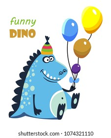 Funny cartoon, cute dinosaur with balloons