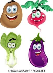 Funny cartoon cute vegetables - lettuce, radishes, eggplant, potatoes