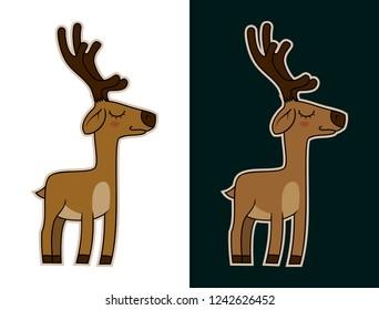 Funny Cartoon deer mascot character vector sticker