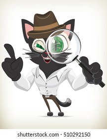 Funny cartoon detective cat on white background