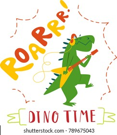 Funny cartoon dinosaur guitar player. Isolated on white background. Design for kids t-shirt.