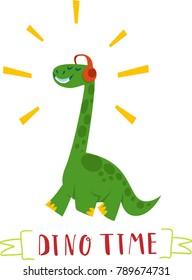 Funny cartoon dinosaur. Isolated on white background. Design for kids t-shirt.