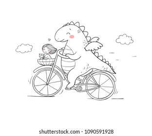 A funny cartoon dinosaur on a bicycle. Cute dragon traveler, girl and cat. Vector illustration.